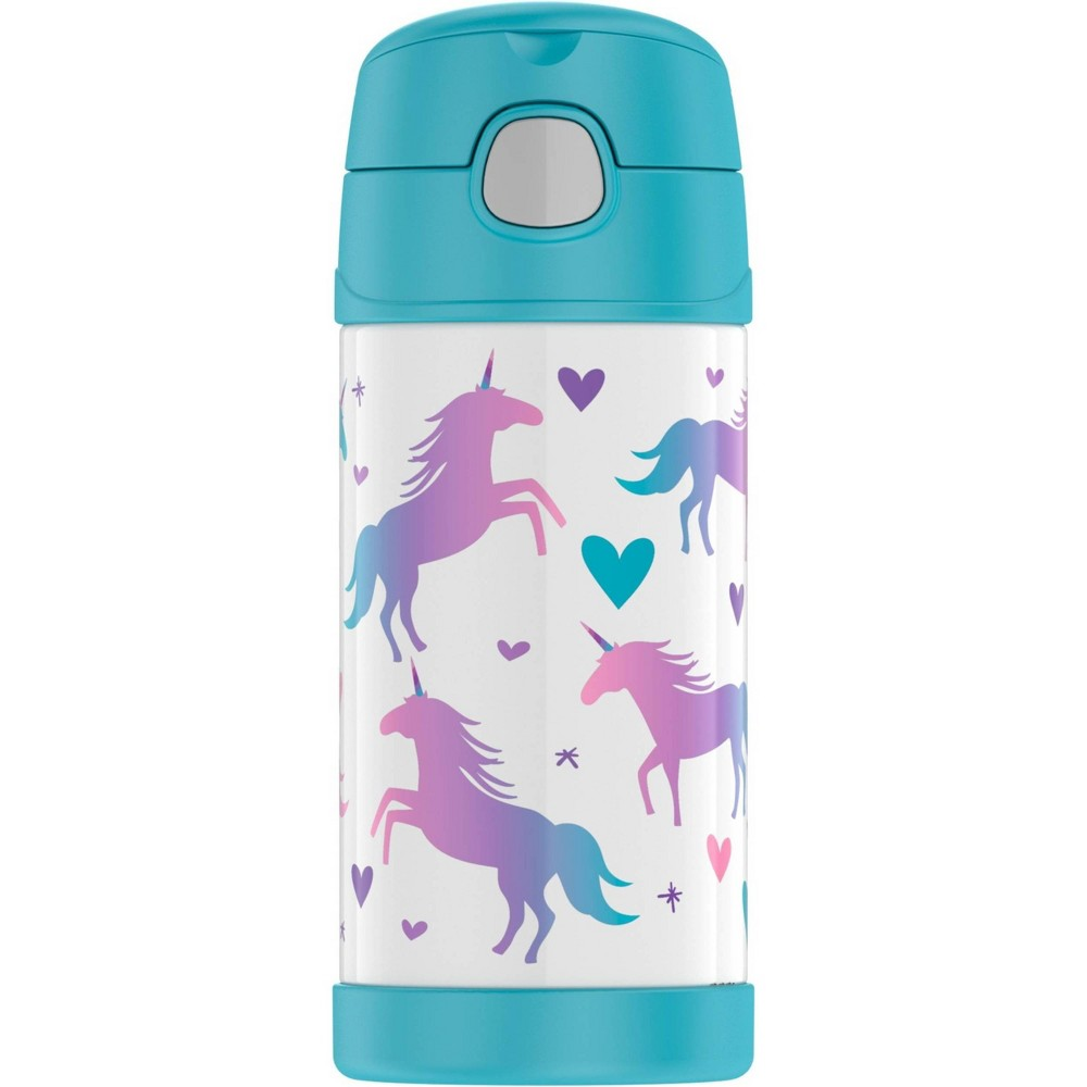 Image of Thermos Unicorn 12oz FUNtainer Water Bottle - Teal/White Unicorn