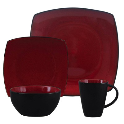 Gibson Home 16pc Stoneware Soho Lounge Dinnerware Set Red/Black