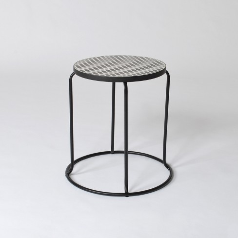 Mosaic Polka Dot Indoor/Outdoor Stack Accent Table Black/White - Project 62™ - image 1 of 2