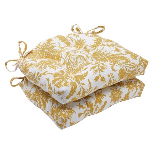 Yellow Ananya Reversible Chair Pads (Set of 2) - Pillow Perfect - image 1 of 1