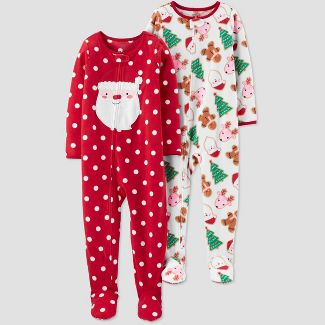 Toddler Girls' 2pk Dotted Santa Fleece Blanket Sleeper - Just One You® made by carter's Red/Off White 2T