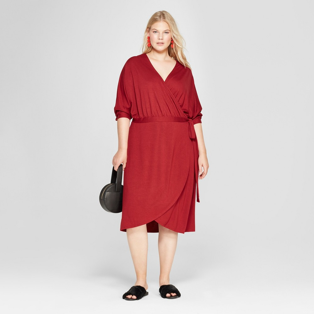 Women's Plus Size Knit Wrap Midi Dress - A New Day Burgundy 1X, Red