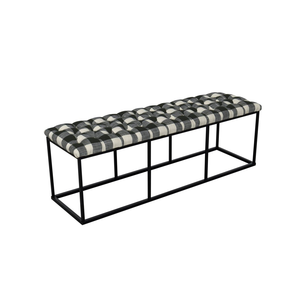 Draper Bench with Button Tufting Black - Homepop was $179.99 now $134.99 (25.0% off)