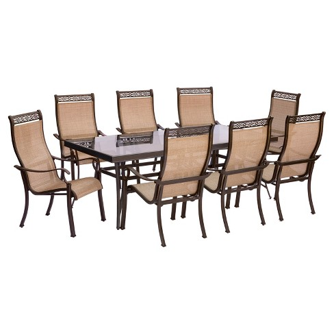 Monaco 9pc Rectangle Metal Patio Dining Set - Tan - Hanover - image 1 of 8