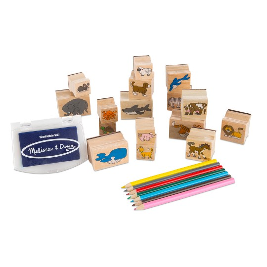 Melissa & Doug Wooden Stamp Set: Animals - 16 Stamps, 4 Colored Pencils, Stamp Pad image number null