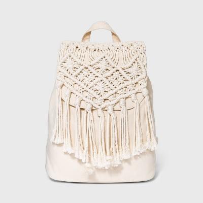 Girls' Macrame Mini Backpack - art class™ Cream