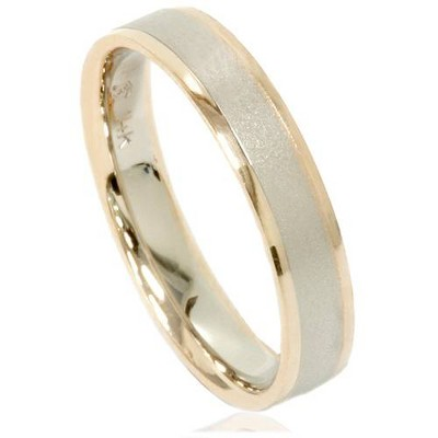Pompeii3 4mm 14K Gold 2 Tone Comfort Fit Brushed Comfort Fit Wedding Band Ring Size 6 - Size 6