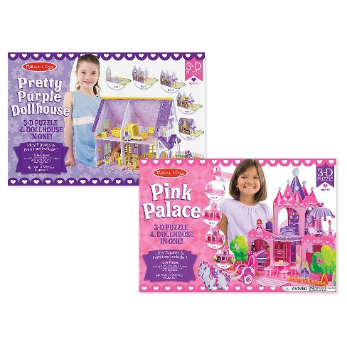 Melissa And Doug Pretty Purple Dollhouse And Pink Palace 3D Puzzle 200pc - image 1 of 3
