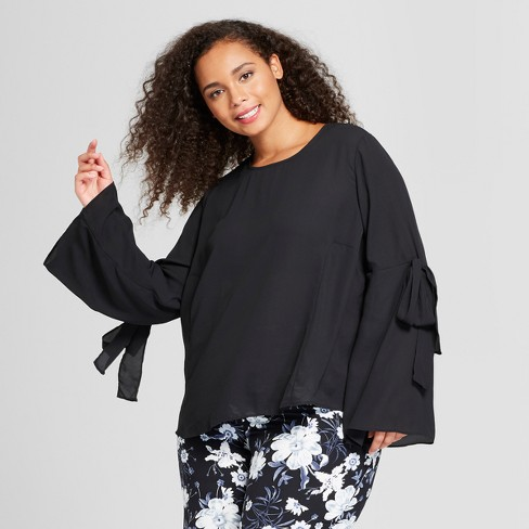 Women's Plus Size Long Sleeve Airy Tie Blouse - Who What Wear™ - image 1 of 3