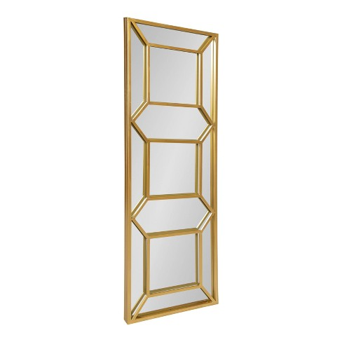"""18"""" x 54"""" Nahla Metal Framed Wall Mirror Gold - Kate and Laurel - image 1 of 4"""