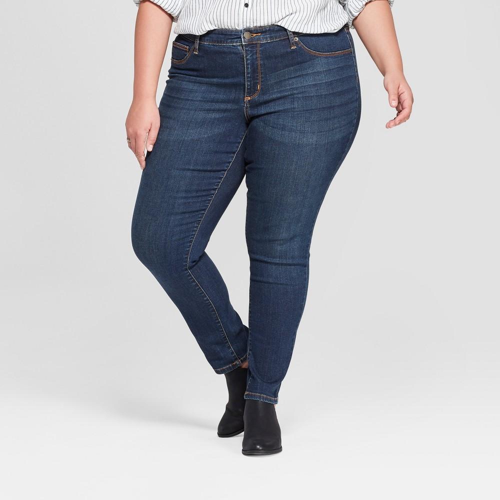 Women's Plus Size Mid-Rise Jeggings - Universal Thread Dark Wash 20W, Blue