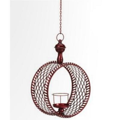"Northlight 15"" Decorative Red Cylindrical Christmas Lattice Hanging Pillar Candle Lantern"