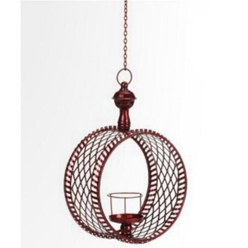 "Northlight 15"" Decorative Red Cylindrical Christmas Lattice Hanging Pillar Candle Lantern - image 1 of 2"
