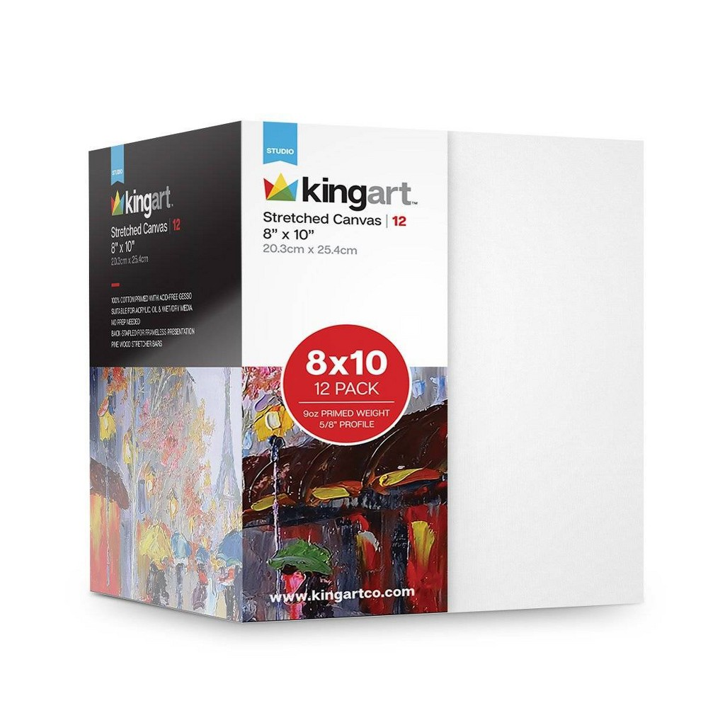 """Image of """"Kingart 8"""""""" x 10"""""""" 12ct Stretched Canvas Value Pack, White"""""""