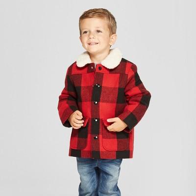 Toddler Boys' Buffalo Plaid Field Jacket - Cat & Jack™ Red 3T