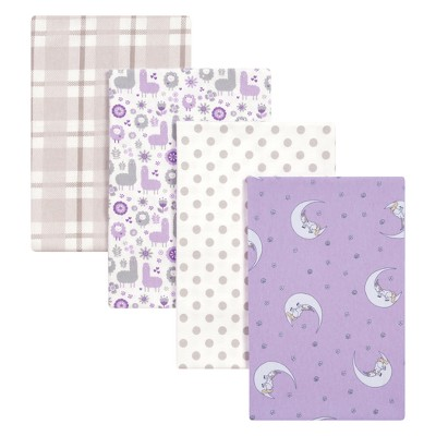 Trend Lab Flannel Blankets 4pk Llamas and Unicorns - Purple