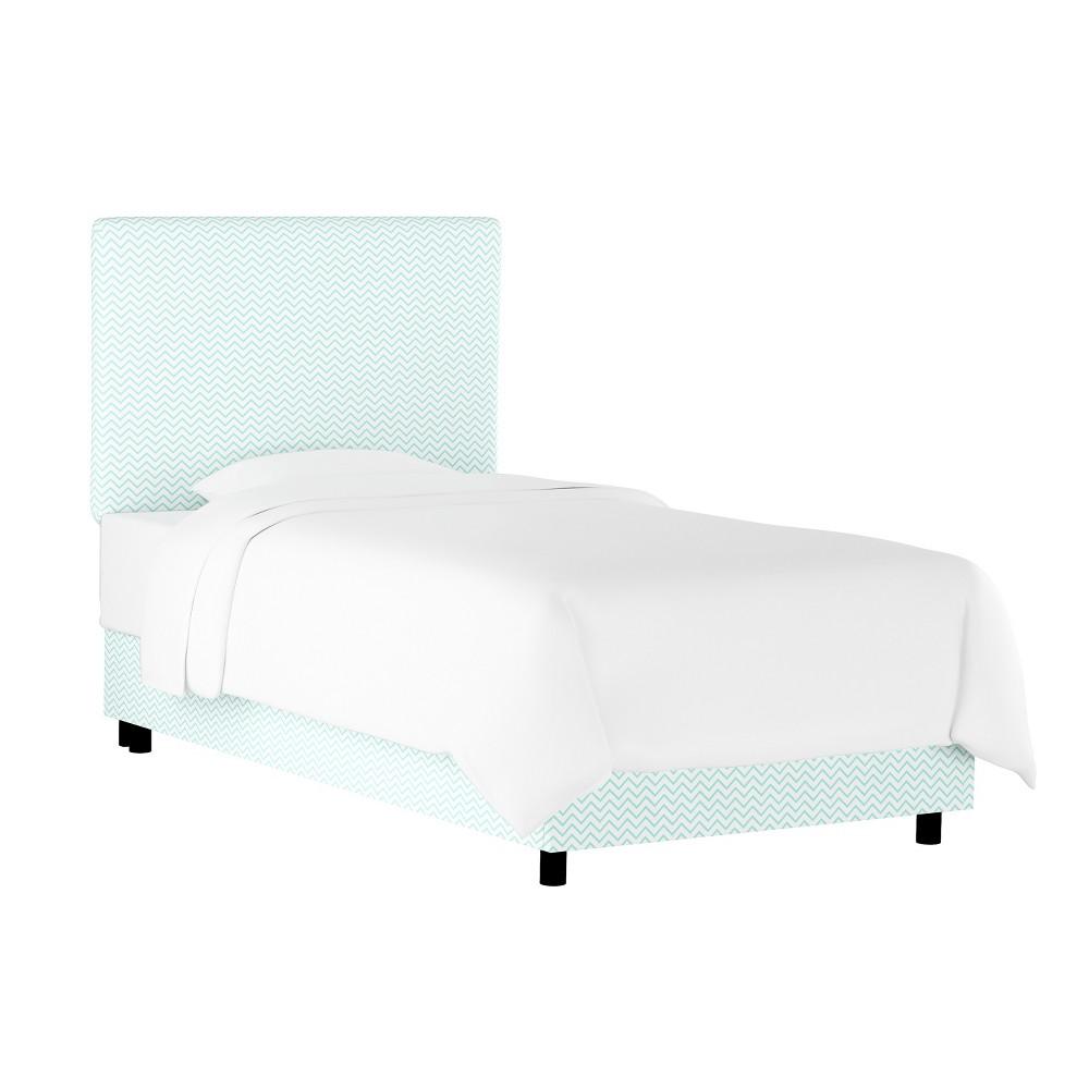Kids Printed Upholstered Bed Twin Chevron Aqua - Pillowfort
