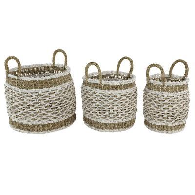 Olivia & May Set of 3 Large Round Lattice Design Plastic Rope Storage Baskets