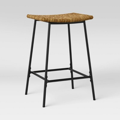 Seagrass Counter Height Barstool with Metal Base Black/Natural - Threshold™