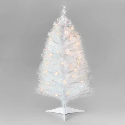 3ft Pre-Lit Alberta Spruce Iridescent Tinsel Artificial Christmas Tree Clear Lights - Wondershop™