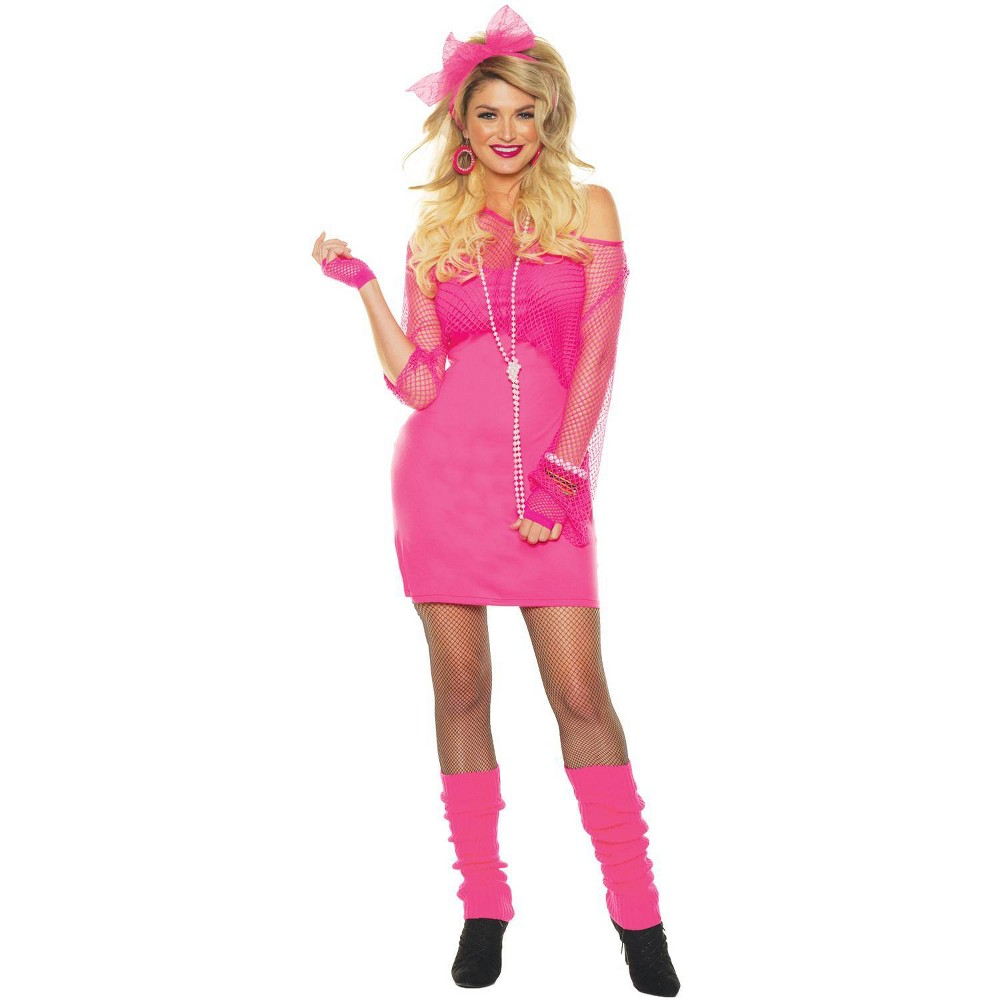 80s Dresses | Casual to Party Dresses Halloween Adult Totally 80S-Neon Pink Halloween Costume - XL $25.99 AT vintagedancer.com