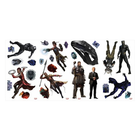 RoomMates Marvel Black Panther Peel and Stick Wall Decal 2 Sheets - image 1 of 3
