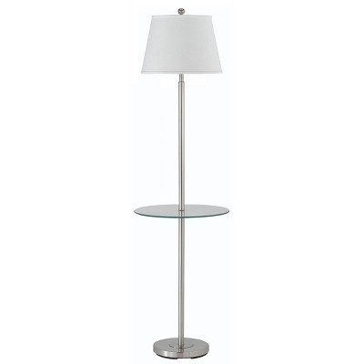 """60"""" 3-way Andros Metal Floor Lamp with Glass Tray Brushed Steel - Cal Lighting"""
