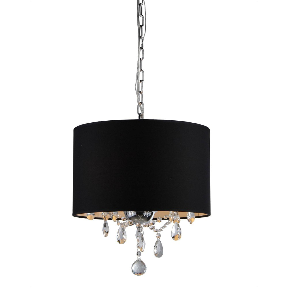 "Image of ""15"""" x 15"""" x 10"""" Brim 3 Light Crystal Chandelier Black/Silver - Warehouse of Tiffany"""