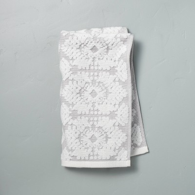 Geo Medallion Hand Towel Jet Gray - Hearth & Hand™ with Magnolia