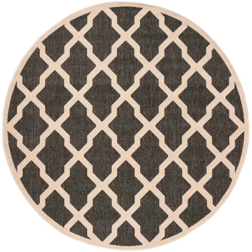 6'7 Geometric Loomed Round Area Rug Black/Cream - Safavieh