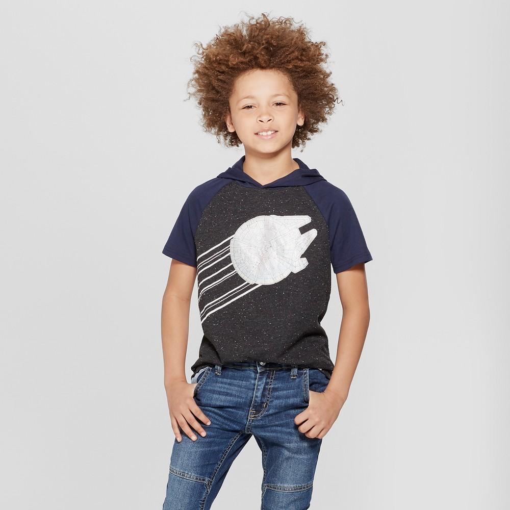 Boys' Star Wars Millennium Falcon Short Sleeve T-Shirt - Black/White L