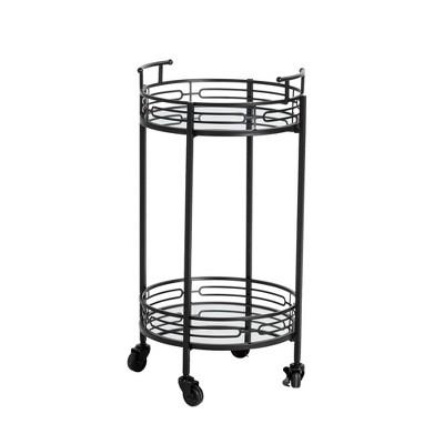Deluxe 2 Tier Metal Round Mirrored Bar Cart Black - Glitzhome