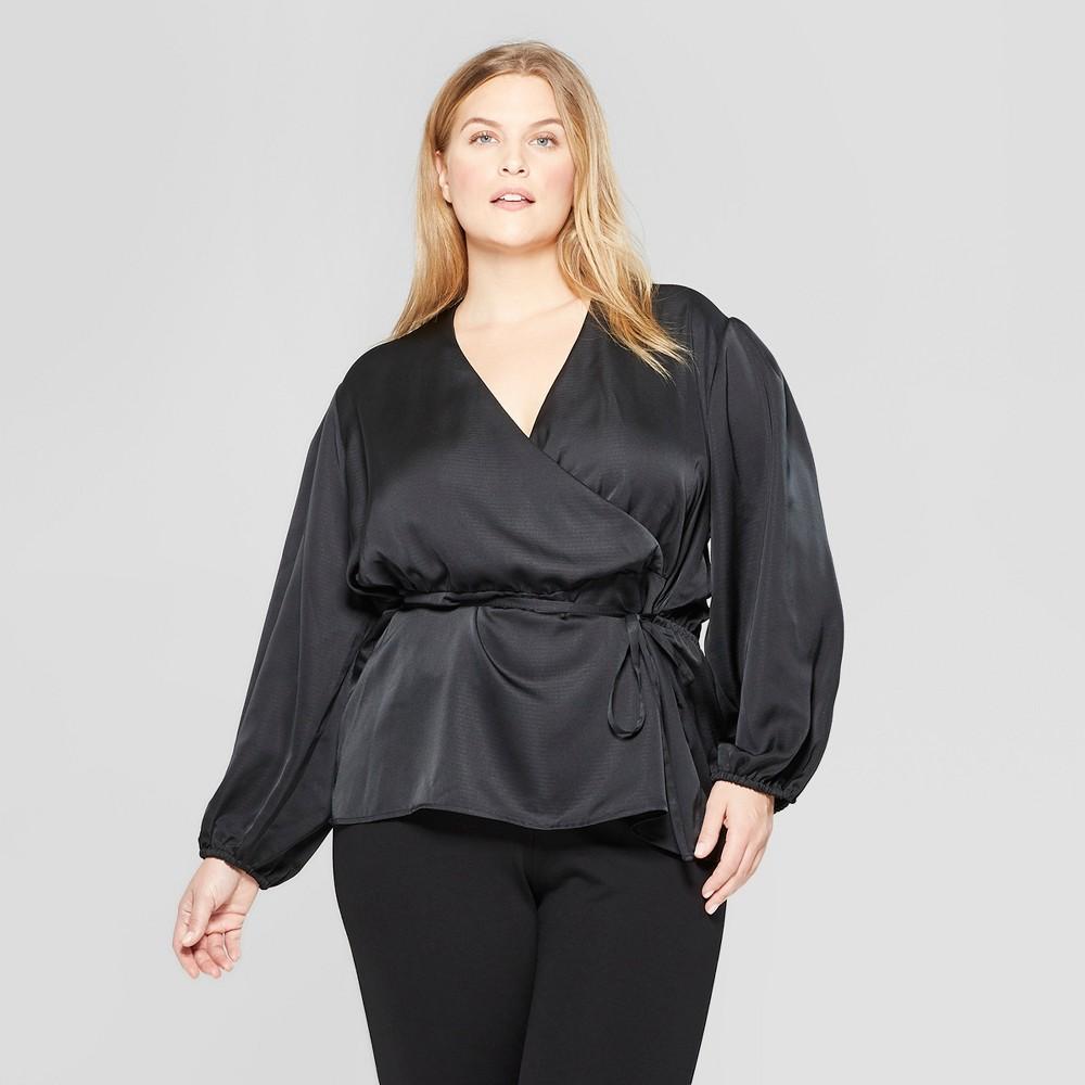 Women's Plus Size Long Sleeve Wrap Blouse - Prologue Black 2X