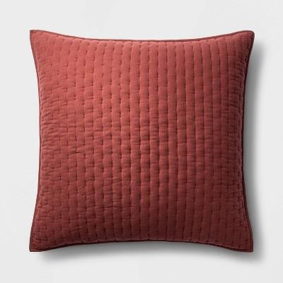 Euro Cashmere Blend Quilted Pillow Sham Dark Clay - Casaluna™