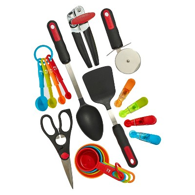 Farberware 17 Piece Kitchen Tools and Gadget Set Assorted Bright Colors