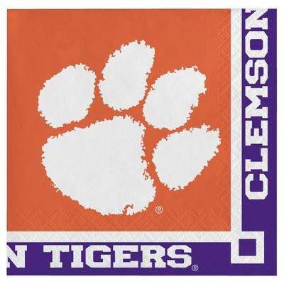20ct Clemson Tigers University Cocktail Beverage Napkins - NCAA