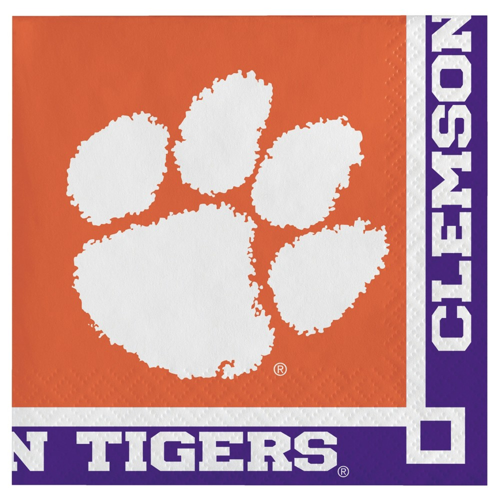 Image of 20ct Clemson Tigers University Cocktail Beverage Napkins