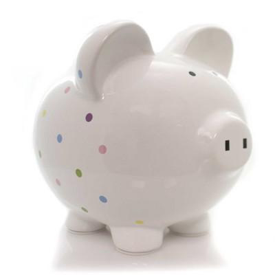 "Bank 7.75"" Confetti Piggy Polka Dots  -  Decorative Banks"