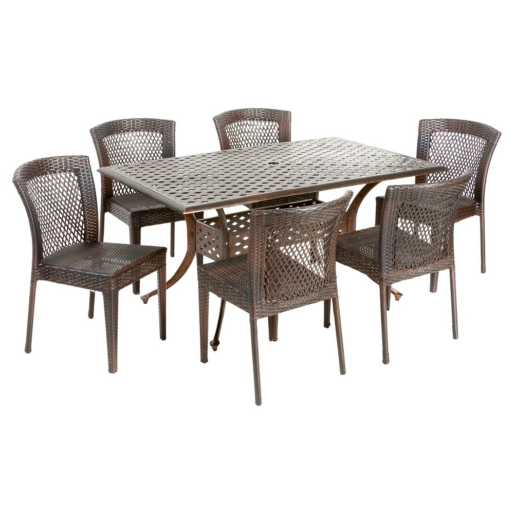 Dusk 7pc Cast Aluminum and Wicker Dining Set - Bronze/Brown - Christopher Knight Home