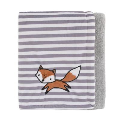 NoJo Little Love Lil Fox Plush Baby Blanket with Orange Fox Applique