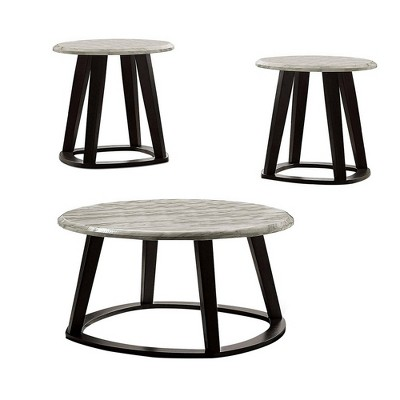 3pc Coffee Table Set with Faux Marble Top Gray/Black - Benzara