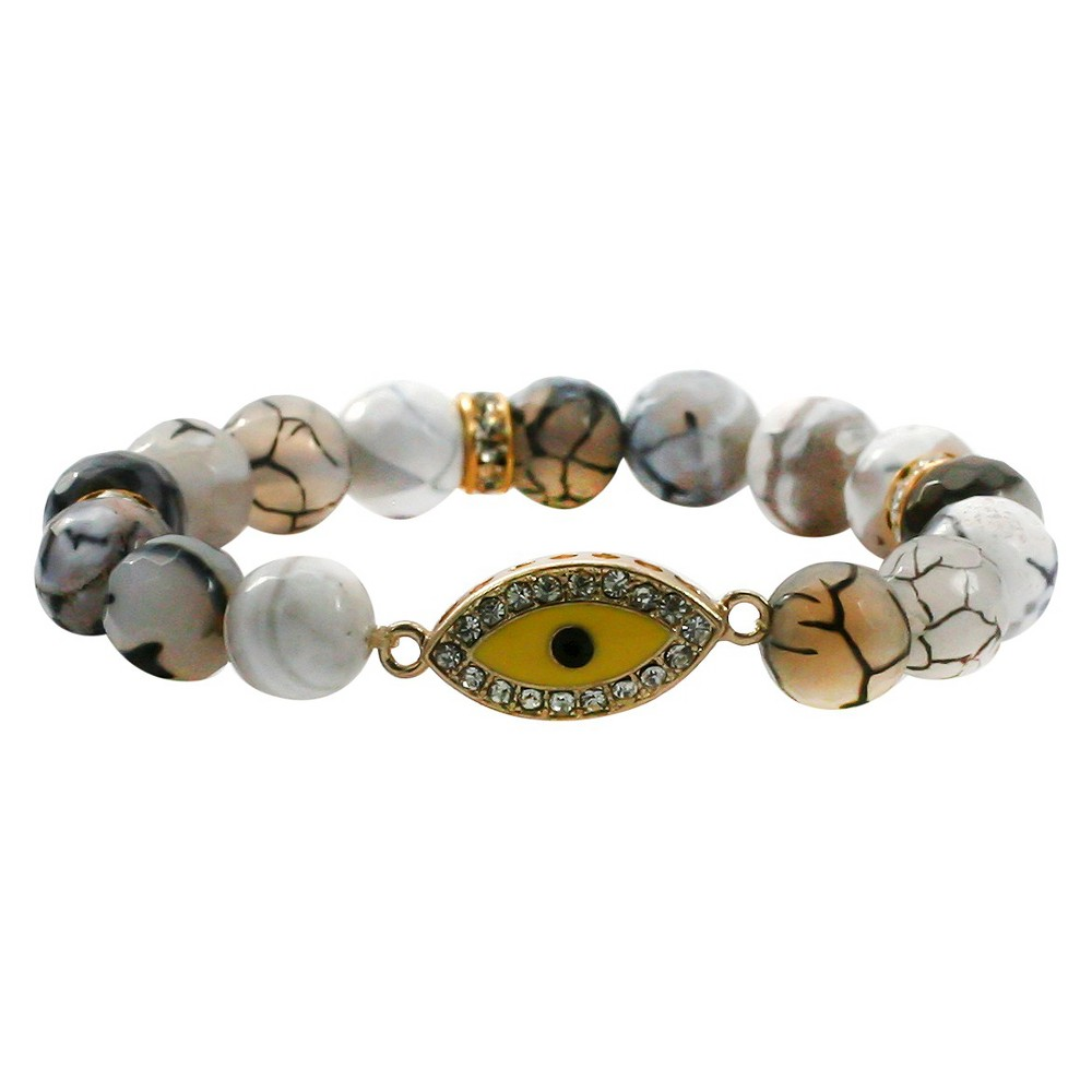 Women's Zirconite Evil Eye Charm Faceted Colored Stones Stretch Bracelet-Gray, Gray