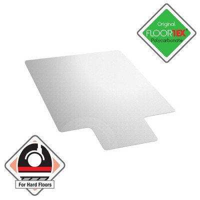"35""x47"" Polycarbonate Anti-Slip Chair Mat for Hard Floors and Carpet Tiles Lipped Clear - Floortex"