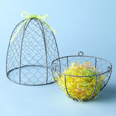 Lakeside Oversized Egg Shaped Basket Decoration for Easter with Paper Filling