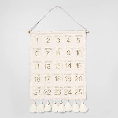 "20"" x 16"" Fabric Wall Banner Advent Calendar with Tassels Cream/Gold - Opalhouse™"