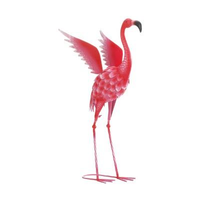 "17"" Iron Flying Flamingo Metal Décor Statue Pink - Zingz & Thingz"