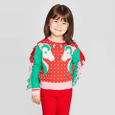 Toddler Girls' Well Worn Unicorn Ugly Sweater - Red - image 1 of 3