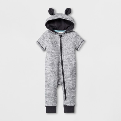 Baby Boys' Short Sleeve Hooded Critter Romper - Cat & Jack™ Gray 3-6M
