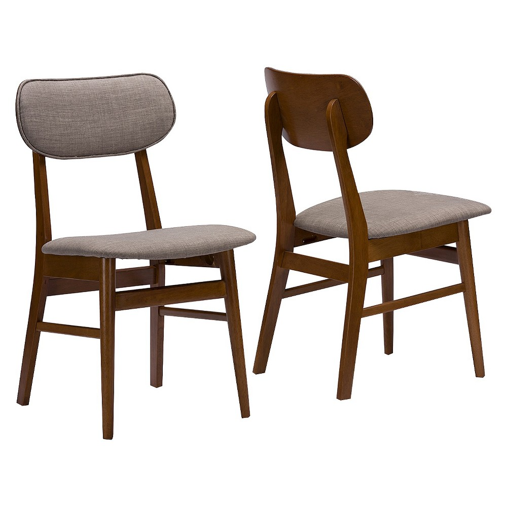 Sacramento Mid-Century Gray Faux Leather Dining Chairs - Brown Walnut/Gray (Set Of 2) - Baxton Studio