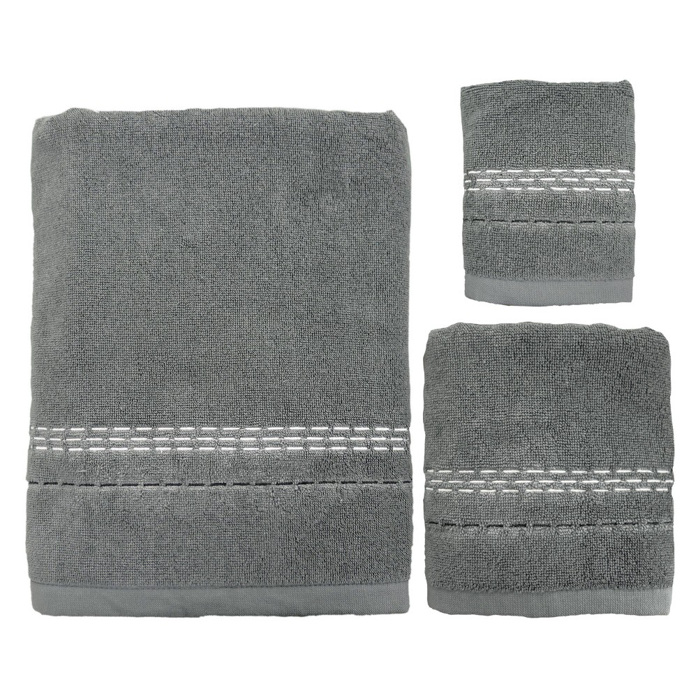 Image of 3pc Dash Bath Towel Sets Gray - Allure Home Creation